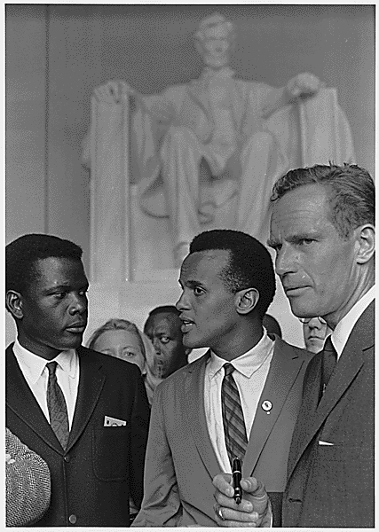 Poitier_Belafonte_Heston_Civil_Rights_March_1963