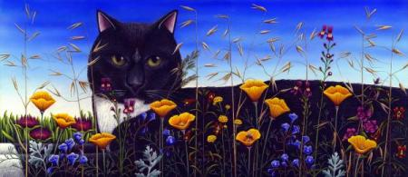 cat-in-flower-field